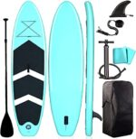 SOARRUCY Inflatable Stand Up Paddle Board - 10.5 FT Surfing SUP Boards Accessories, Inflatable Paddle Boards, Non-Slip Deck Pad, with Backpack, Leash, Paddle and Hand Pump (6 Inches Thick)