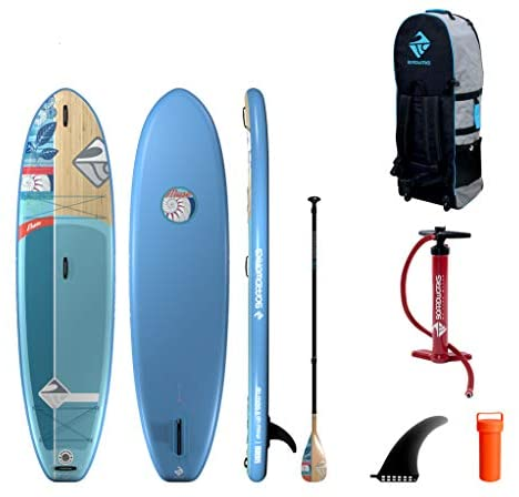 """Boardworks SHUBU Muse Inflatable Stand-Up Paddle Board (iSUP)   SUP Package Includes Three Piece Paddle, Pump and Roller Bag Complete Kit   10'2"""", Blue with Bamboo"""