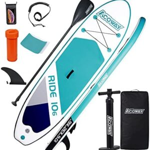 """ACOWAY Inflatable Stand Up Paddle Board, 10'6×32""""×6"""" Paddle Board, SUP Paddleboard Accessories Backpack, Bottom Fin Paddling Surf Control, Non-Slip Deck, Youth & Adult Stand up Paddle Board"""