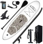 FEATH-R-LITE Inflatable Stand Up Paddle Board 10'x30''x6'' Ultra-Light (16.7lbs) SUP with Paddleboard Accessories,Three Fins,Adjustable Paddle, Pump,Backpack, Leash, Waterproof Phone Bag