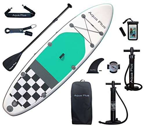 Aqua Plus 10ft6inx33inx6in Inflatable SUP for All Skill Levels Stand Up Paddle Board, Adjustable Paddle,Double Action Pump,ISUP Backpack, Leash, Shoulder Strap,Youth & Adult Inflatable Paddle Board