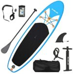 Rumlad Inflatable Stand Up Paddle Board 4 Inches Thick with One-Way Sup Dedicated Pump&Backpack,Adjustable Special Pulp,Simple Foot Rope,Waterproof Cell Phone Bag,Youth & Adult,Blue