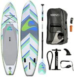 abrazo Sports: 11ft Long & 32 inches Wide Standup Paddleboard Inflatable SUP with Pump, fins, Paddle, Bag, Ankle Leash and Repair kit. …