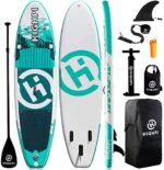 Highpi Inflatable Stand Up Paddle Boards, 10'6''x32''x6'' SUP with Accessories Backpack Anti-Slip Deck, Leash, Paddle and Hand Pump, Paddle Board Standing Boat for Youth & Adult…