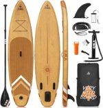 """VWB Inflatable Stand Up Paddle Board (11'×33""""×6"""") SUP Board Accessories with Non-Slip Deck Backpack Waterproof Bag Adj Paddle Board Manual Air Pump Leash Caudal Fin Adj Paddle for Youth & Adult"""
