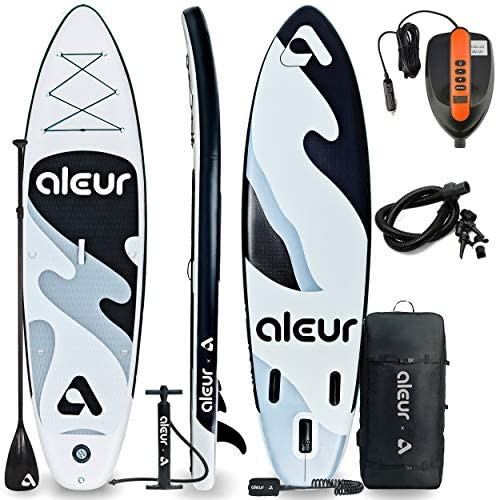 aleur Explorer Inflatable Stand Up Paddle Board Package W Premium SUP Accessories & Backpack, Non-Slip Deck, Leash, Paddle and Hand Pump | Elegant, Fun, Portable,Versatile