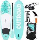 Outroad Inflatable SUP Stand Up Paddle Board with Premium SUP Accessories & Carry Bag, Wide Stance, Surf Control, Non-Slip Deck, Paddle and Pump, Standing SUP for Youth & Adult, Orange/Mint Green