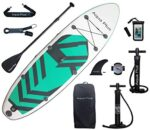 Aqua Plus 11ftx33inx6in Inflatable SUP for All Skill Levels Stand Up Paddle Board, Adjustable Paddle,Double Action Pump,ISUP Travel Backpack, Leash,Shoulder Strap,Youth & Adult Inflatable Paddle Board