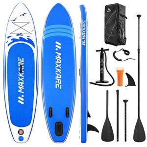 """MaxKare Stand Up Paddle Board Inflatable SUP W Stand-up Paddle Board Accessories Backpack Paddle Leash Pump Non-Slip Deck ISUP Fishing Yoga Rigid Solid 10'× 30"""" ×6'' Inches Thick Adult & Youth & Kid"""