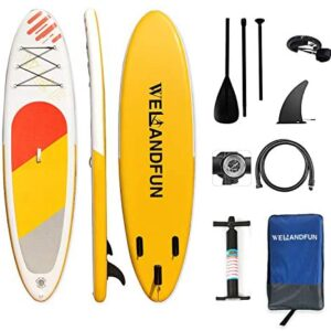 WelandFun Inflatable Stand Up Paddle Board 6 inchs Thick with Premium SUP Accessories Carry Bag, Surf Control, Non-Slip Deck, Leash, Paddle and Pump