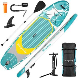 10FT Inflatable Stand Up Paddle Board, Thickened Paddleboards with Adjustable Lightweight Paddle, Non-Slip Deck, Safety Leash, Backpack, Hand Pump, Repair Kit for All Skill Levels