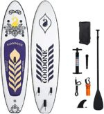 """GOODONE Inflatable Stand Up Paddle Board, Peacock Pattern Yoga Type SUP with Premium Accessories Including Carry Bag, Non-Slip Deck, Paddle, Hand Pump, Bottom Fin and Leash 10'6""""x31.5""""x6"""""""