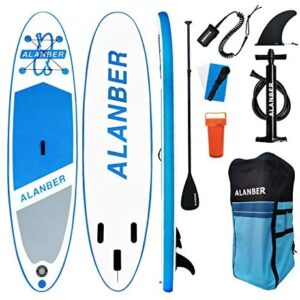"""ALanber Inflatable Sup Paddle Board 10'6""""x32""""x6"""" Ultra-Light (17.6lbs) Non-Slip SUP with Premium Accessories & Carry Bag - Wide Stance for Paddling for Youth & Adult Standing Boat"""