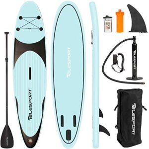 """TELESPORT Paddle Boards 11' x 33""""x6"""" Inflatable Stand Up Paddleboard for Adult, Blow Up SUP Board, 350lbs Weight Capacity with Full Accessories"""