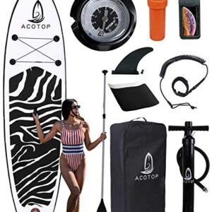 """Inflatable Paddle Board, 10'6""""x33""""/31""""x6"""" Stand Up Paddle Board, Durable SUP Accessories, Manual Pump, Bottom Fin, 3-Piece Aluminum Paddle, Non-Slip Deck Waterproof Bag Paddle Board for Adults"""