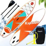 Ksports Inflatable Stand Up Paddle Board 10.6ftⅹ32inⅹ6in, Quality SUP Accessories, Backpack, Waterproof Phone Bag. Wide Stance, Non-Slip Deck, Straps on 6xD Rings for Superior Paddling Experience