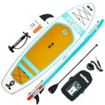 """surfstar Inflatable Paddle Board, Stand Up Paddle Board for Adults, 10'6''x33''x6"""" Lightweight ISUP Board with Premium Ankle Leash, Floating Paddle, Dual Action Pump, Backpack, Waterproof Bag"""