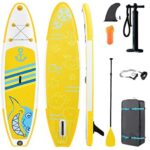 MIYA Inflatable Stand Up Paddle Board (6 Inches Thick) With Durable SUP Accessories and Backpack, Non-Slip Deck, Bottom Fin for Paddling and Surf Control, Leash, Paddle and Hand Pump for Youth & Adult
