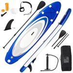 """GYMAX Inflatable Stand Up Paddle Board, 6"""" SUP with Premium Complete Accessories, Backpack, Pump, Leash, Paddle & Removable Fins, Portable Stand Up Boat for Fish Surfing All Skill Level"""