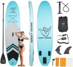 """WAVEY BOARD Inflatable 10' Stand Up Paddle Board for Adult Premium SUP Blow up Paddle Board for Youth Kids Fishing (6"""" Thick) with ISUP Accessories Backpack Bag, Pump, Adjustable Paddle"""