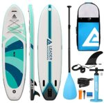 """Leader Accessories Inflatable Stand Up Paddle Board 10'6""""x33""""x6"""" ISup for All Skill Levels with SUP Accessories Including Adjustable Paddle, Backpack, Leash, Hand Pump"""