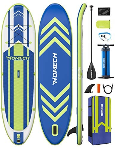 """Homech Inflatable Stand Up Paddle Board 10'10 × 32"""" × 6"""" All Around SUP Paddleboarding with Dual-Chamber Hand Pump, Non-Slip Deck, Floatable Paddle, SUP for Adult Kids Beginners Fishing Water Yoga"""
