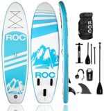 Roc Inflatable Stand Up Paddle Boards W Free Premium SUP Accessories & Backpack, Non-Slip Deck Bonus Waterproof Bag, Leash, Paddle and Hand Pump