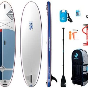 Boardworks SHUBU Solr Inflatable Standup Paddle Board (iSUP) | SUP Package Includes Rolling Backpack, Pump and Three Piece Paddle | 10'6