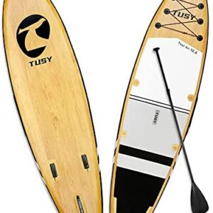 TUSY SUP Inflatable Stand Up Paddle Board 10.6' with All Accessories, 3 Removable Fins, Wrist-Paddle Leash, Camera Mount, Surf Control, Paddle Boards for All Skill Level Paddlers