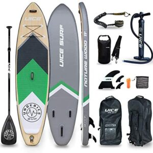 UICE Grey Wood Inflatable Stand Up Paddle Board 11'x33 x6, Unique Classic Design with Premium Standard Accessories Popular Size for Turing, Surfing and Yoga