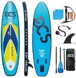 """DCSSPORTS Premium Inflatable Paddle Board, 10'6"""" ×32"""" × 6"""", Rigid Board Built with Dual Layer Woven Drop Stitch, SUP with 5mm Non-Slip Soft Deck Pad"""