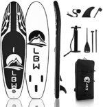 LBW Stand Up Paddle Board Inflatable - SUP Board with Adjustable Paddle, Non Slip Deck, Bottom Fins, Hand Pump, Large Backpack - Ultra Light Stable Paddleboard
